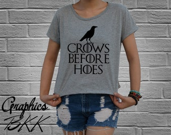 Crows Before Hoes shirt winter is coming shirt dragon Women's Crop Top Shirt Cropped T-Shirt house stark t-shirt (M-L) Free Shipping