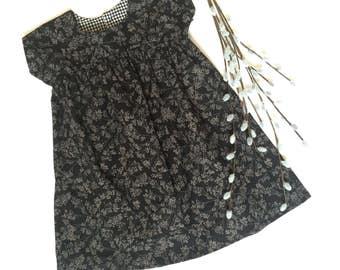 Girls Size 2T Dress Black Beige Floral One of a Kind