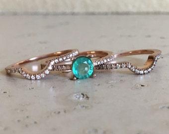 Aquamarine Bridal Set Ring Aquamarine Promise Ring