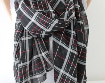 Scarf Christmas Gift Holiday Gift Plaid Scarf Chiffon Scarf Gift For Her Womens Scarves fashion accessories