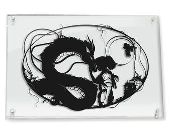 Spirited Away Studio Ghibli Haku and Chihiro Miyazaki Papercut Dragon Love Art Geek Gift No Face Fantasy Art Anniversary Gift Home Decor