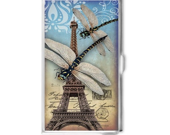 Dragonfly Business Card Holder - Eiffel Tower - Card Case - Logo Business Card Case - Gift Idea - Office Supplies - Credit Card Holder -