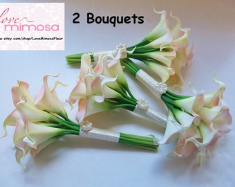 TWO Small Blush Pink Calla Lily Bridesmaid bouquets, Flower Girl Bouquet, Toss Bouquet