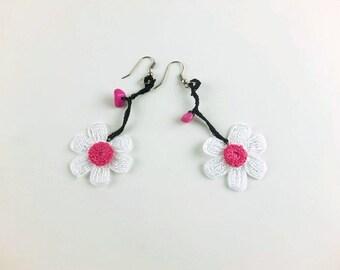 Gift for Her Flower Earrings Crocheted, Dangle Earrings, Floral Earrings, Flower Jewelry,