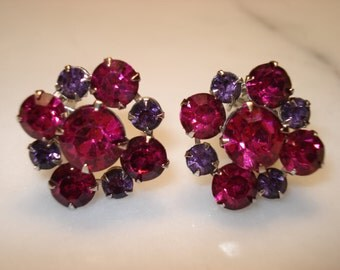 Weiss Lavender and Cranberry Rhinestone Clip Earrings, Excellent Condition