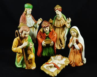 Nativity Set of Holy Family, 6 Ceramic figurines, Mary, Joseph, Christ Child and 3 Kings or Wisemen
