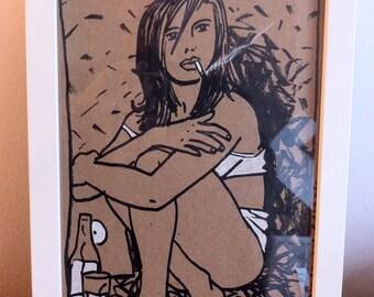Dessin original vintage, original vintage artwork, erotic sexy girl fille sur kraft/cardboard