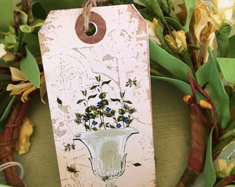 Floral Vintage Vase Gift Tag