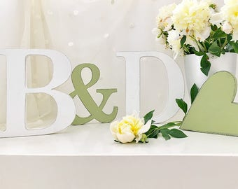 Wooden initials with & and Heart