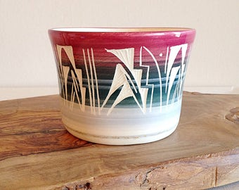 Vintage Southwest Navajo Cactus Pot Handmade Pottery