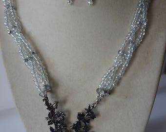Crystal and Silver Seed Bead Reindeer Necklace Set