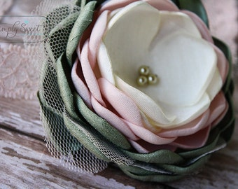 Brielle - Sage, Pale Pink and Ivory Headband