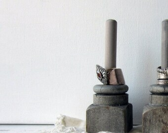 SALE ONE Ring Holder - Grey Architectural Salvage - Ring Display - Quantities Available - READY to Ship