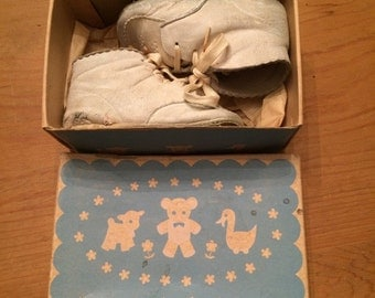 Pair of Vintage White Baby Shoes in Original Shoe Box