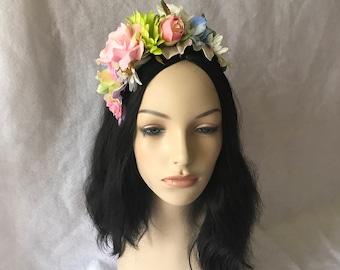 Snapchat flower crown, spring pastel flower headband, garden flower wedding tiara crown, cinco de mayo flower headpiece, bridal flower crown