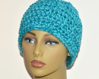 Teal messy bun hat , Chunky blue beanie , Adult winter hat , Winter accessory , Gift for her , Ready to ship , Ponytail hat , Blue beanie
