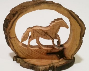 Wild Mustang, Live Edge Artwork, Wildlife Art, Wildlife Decor, Horse Artwork, Horse Art, Nature Decor, Wood horse