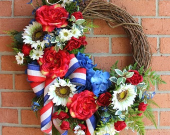 SALE - Summer Patriotic Rose & Sunflower Garden Wreath, Elegant Floral Wreath, Forth 4th July Wreath, Mother's Day Wreath, Military, America