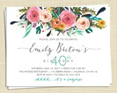 10 Adult Birthday Invitation - Surprise Birthday Invitation -  Watercolor Roses Flower Birthday Invitation - any age - PRINTED