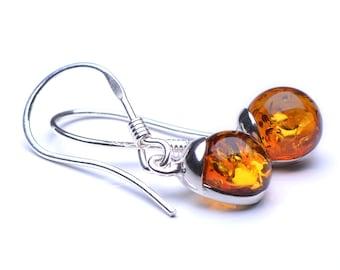 Silver Sterling Fishhook Amber Earings - Cognac Baltic Amber Earings - Genuine Amber