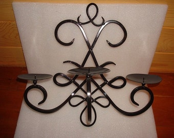 Large Heavy Black Wrought Iron Candle Holder Wall Hanging