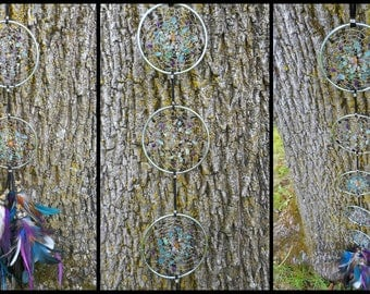 Fluorite Crystal Hand-Woven Tribal Bohemian Dream Catcher Flag by The Emerald Lotus