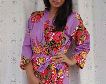 Purple Bridesmaid Robe Floral Bridal Party Robes For Bride and Bridesmaids Cotton Robes