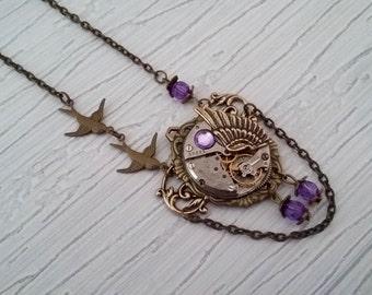 Necklace pendant 2 birds steampunk