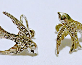 Vintage Art Deco Sterling Silver Marcasite Swallow Bird Earrings Screw On