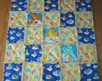 CARE BEAR Fabric Baby Rag Quilt Glow in the Dark Blanket -  Toddler