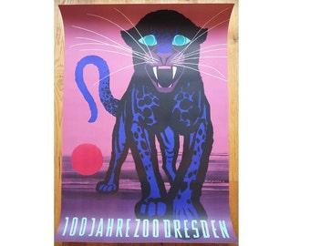Original DRESDEN Zoo 1960 vintage Advertising Poster - Panther/Puma design