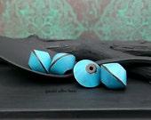 Handmade Polymer Bicone Bead - Turquoise Brown - Bohemian Hippie Rustic Bicone Bead - 13mm - Pkg. 4