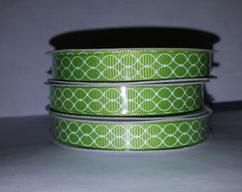 Lime Green and White Swirl Ribbon