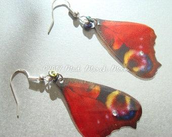 Peacock Butetrfly Earrings, rich transparent colour, Sterling Silver ear hook, latch back or clip-on