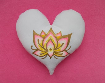 Hand Painted SMALL HEART PILLOW