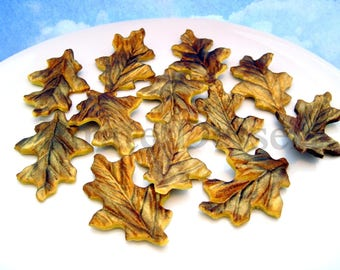 Sugar flower leaves - Golden Oak Leaves - Fondant  leaves - GOLD LEAVES - Sugar Leaves - Edible cake decorations (Gold Leaves) (12 pieces)