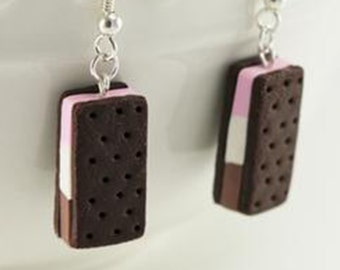 Neapolitan Ice Cream Sandwich Earrings - Food Jewelry, Kawaii Jewelry, Polymer Clay Jewelry