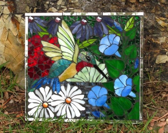 Stained Glass Hummingbird Mosaic Art on Mirror
