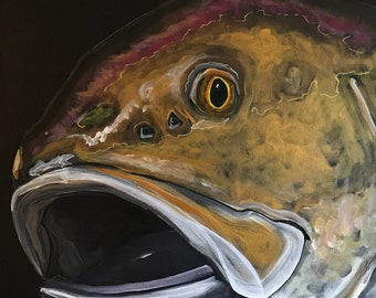 """Bull Red Drum, 24"""" x 24"""" Original Mixed Painting on Canvas"""