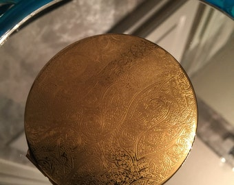 Vintage Stratton 1970's Makeup Compact / Golden Toned Compact Mirror Case