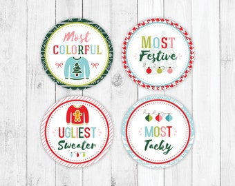 Ugly Sweater Award, Printable Christmas Party, DIY Party Kit, Party Favor, Childrens Christmas, Holiday Party Kit, Christmas Invitation,