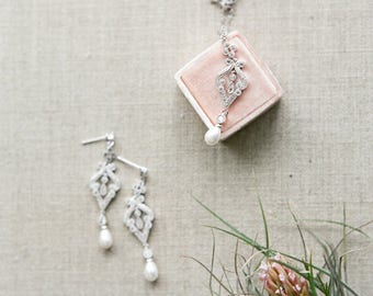 Bridal Necklace, CLARA Bridal Necklace Set Swarovski Earrings Dangle Bridal Earrings, Cubic Zircona Drop Earrings, Pearl Dangle Earrings