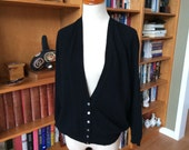 Vintage Cashmere Sweater, Cashmere Cardigan Sweater, Barrie of Scotland, Black with Beautiful Buttons, 1960s