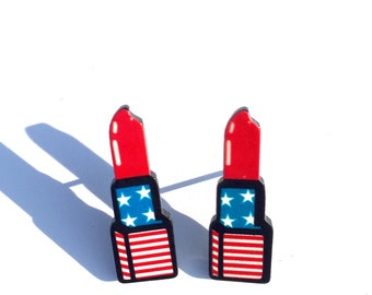 American Flag Lipstick Stud Earrings, Lipstick Earrings, Flag Earrings, Stars and Stripes Earrings