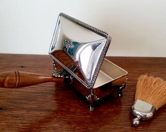 Silver Silent Butler WITH Table Brush - FB Rogers Silver Plate Silent Butler or Crumb Catcher Box with Original Table Brush - Dining Decor
