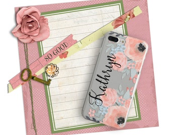 Monogrammed Pink floral iPhone case with clear back, Pretty phone case for her, Gifts for wife (1760)