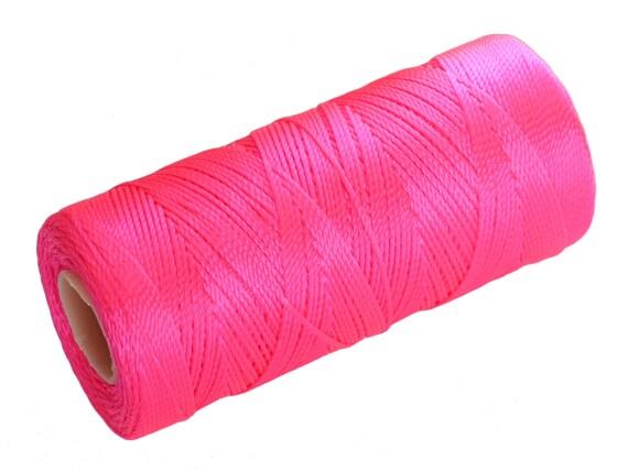 15 Meters Crochet Thread, Nylon Cord non waxed, Macrame Crochet Cord - Neon Pink