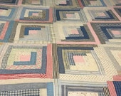 VINTAGE QUILTHand Stitched Log Cabin Red White Blue See Details Below