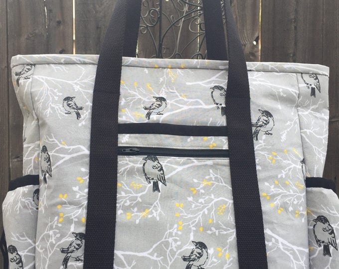 Leather Bottom Large Tote Bag with Pockets, Kitchen Sink Tote, Professional Tote, Travel Tote, Nurse Tote, Bird Teacher Tote, Teacher Bag