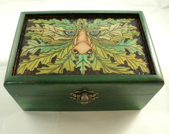 Maple Wood Wooden Woodburned Greenman Box, Oak King, Forest Spirit, keepsake box, memory box, pyrography, jewelry box